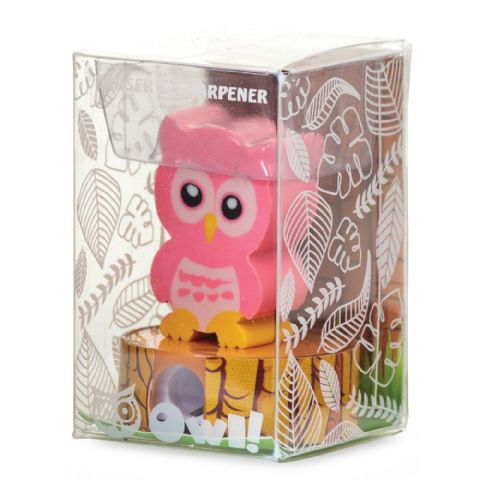 Owl Eraser & Pencil Sharpener - Assorted Colours (1 Supplied)